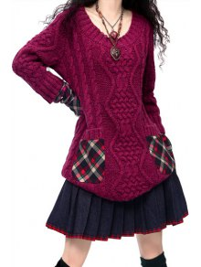 Hooded Cable Knit Pocket Sweater Dress