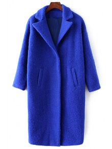 Pockets Pure Color Lapel Collar Wool Coat