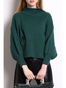 High Collar Puff Sleeve Loose Sweater - Green