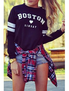 Letter Round Neck Long Sleeve Sweatshirt - Black S