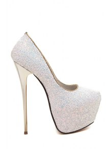 Sequined Cloth Platform Stiletto Heel Pumps