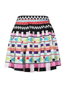 Digital Print High Waisted Pleated Skirt