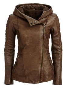 Hooded Zip Pockets PU Leather Jacket