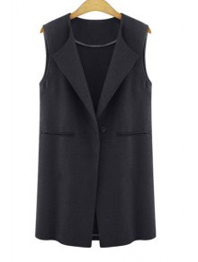 One Button Solid Color Wool Waistcoat