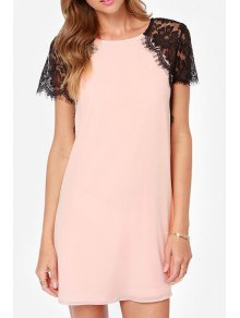 Lace Spliced Round Collar Short Sleeve Dress - Pink