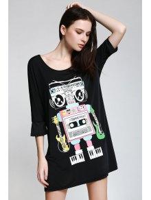 Scoop Neck Robot Print 3/4 Sleeve Dress