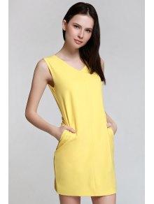 Sleeveless Spliced Metal Button Yelllow Dress