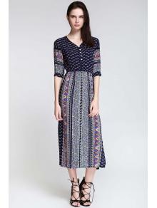 Half Sleeve High Slit Ethnic Pattern Midi Dress