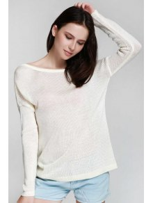 One Shoulder White Backless Long Sleeve Sweater