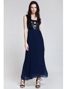 Deep V Neck Sequins Backless Dress