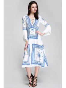 Floral Print Tie Up Long Sleeve Dress - Blue And White