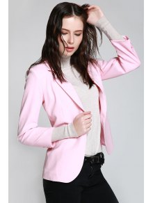 Lapel One Button Pink Blazer - Pink L