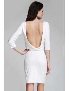 Open Back 3/4 Sleeve Bodycon Dress - White