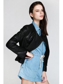 Black PU Leather Turn Down Neck Jacket