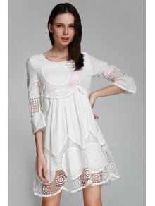 Hollow White 3/4 Sleeve Dress