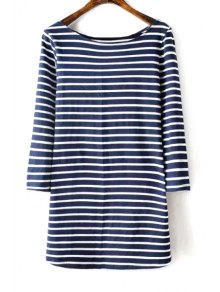 Striped Boat Neck 3/4 Sleeve T-Shirt