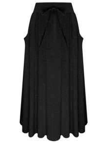 Buy Pure Color Elastic Waist Drawstring Skirt - BLACK ONE SIZE(FIT SIZE XS TO M)