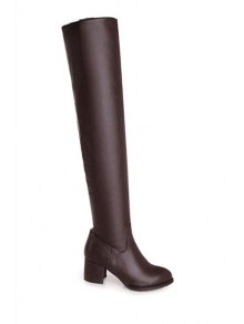 Solid Color Chunky Heel Thigh Boots