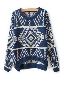 Scoop Collar Geometric Pattern Jumper