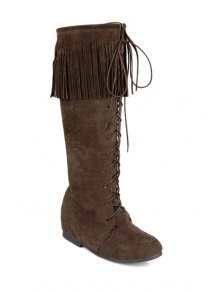 Fringe Stitching Lace-Up Mid-Calf Boots