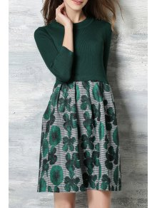 Green Floral Print Round Neck Dress
