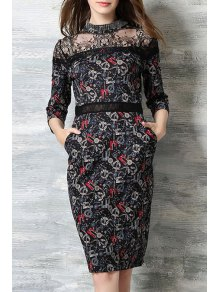 Lace Splicing Stand Neck 3/4 Sleeve Dress