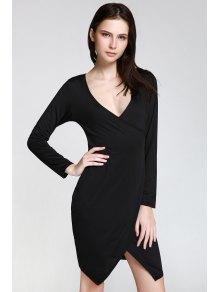 Long Sleeve Overlap Bodycon Dress