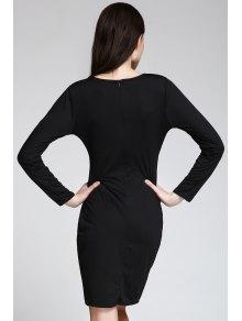 Long Sleeve Overlap Bodycon Dress - BLACK S