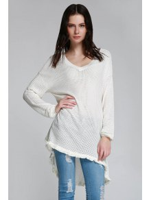 Long Sleeve Cut Out Sweater - WHITE XS