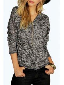 Zipper V Neck Long Sleeve T-Shirt - Black