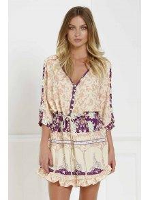 3/4 Sleeve Floral Print Tunic Dress