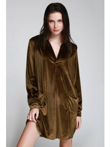 Cozy Velvet Long Sleeve Shirt Dress - Brown M