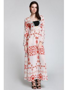 Red Print Plunging Neck Long Sleeve Maxi Dress