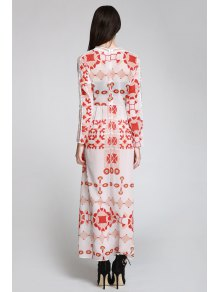 Red Print Plunging Neck Long Sleeve Maxi Dress - WHITE S