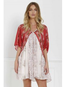 Short Sleeve Vintage Print Dress - Red With White