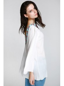 Backless Embroidery Print Round Collar Loose Fitting T-Shirt