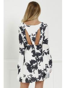 Black Floral Long Sleeve Cut Out Dress