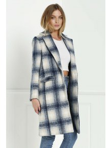 Checked Pattern Lapel Long Sleeve Coat