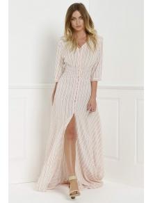 V-Neck Stripe Slit 3/4 Sleeve Dress