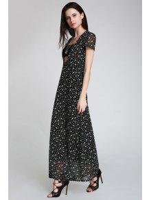 Full Star Print Short Sleeve Maxi Dress