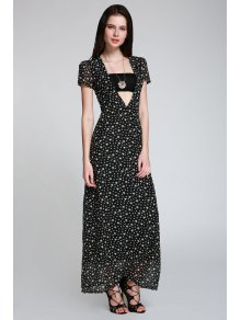 Full Star Print Maxi Plunge Dress