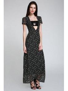 Full Star Print Maxi Plunge Dress - Black L