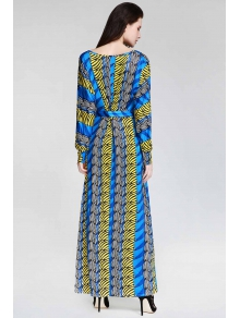 Print Plunging Neck Long Sleeve Dress - SAPPHIRE BLUE S