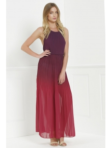 Halter Ombre Color High Slit Maxi Dress - RED S