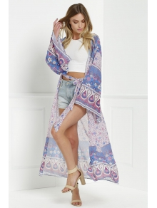 Wide Sleeve Printed Kimono Blouse