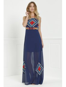 Floral Print Color Block Sleeveless Maxi Dress