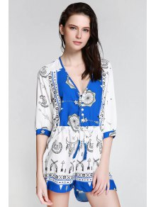 Ethnic Print Plunging Neck 3/4 Sleeve Playsuit - Blue And White