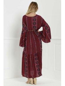 Bell Sleeve Tribal Pattern Print Dress - RED S