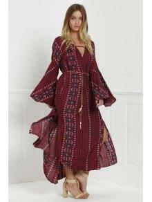 Bell Sleeve Tribal Pattern Print Dress RED: Long Sleeve Dresses ...