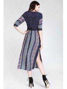 Half Sleeve High Slit Ethnic Pattern Midi Dress - BLUE S